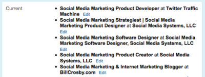 LinkedIn Profile Current Jobs