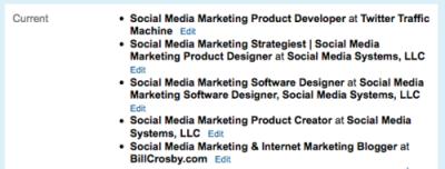 LinkedIn Profile Current Jobs